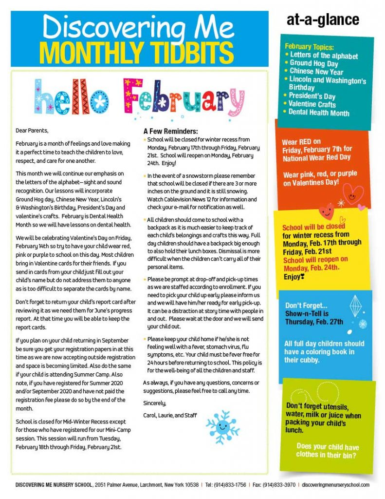 Discovering Me Nursery School February Newsletter