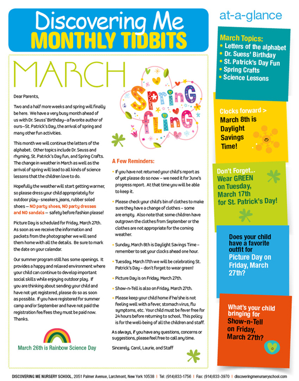 2020 March Newsletter for Discovering Me Nursery School