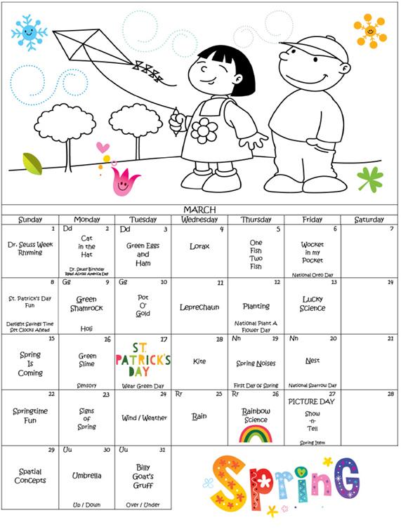 2020 March Calendar for Discovering Me Nursery School