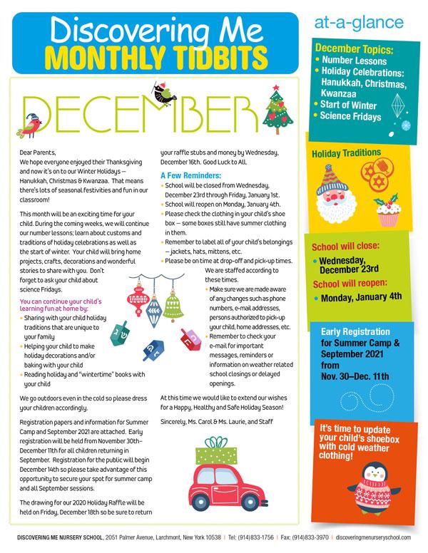 Discovering Me Nursery School December 2020 Newsletter