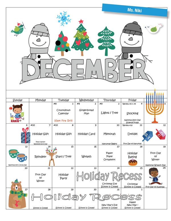 Discovering Me Nursery School 2020 December Activity Calendar—Ms. Niki