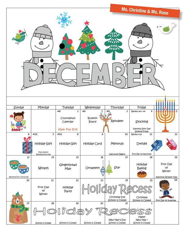 Discovering Me Nursery School 2020 December Activity Calendar—Ms. Christine & Ms. Rose