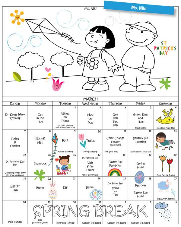 Discovering Me Nursery School March 2021 Newsletter. Ms. Niki calendar.