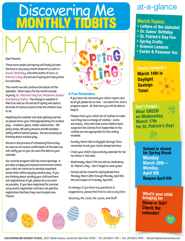 Discovering Me Nursery School March 2021 Newsletter