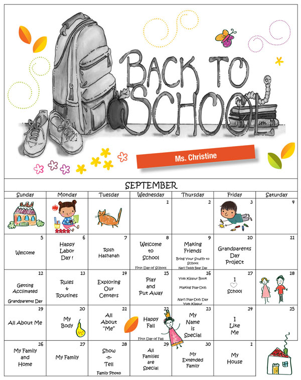 Discovering Me Nursery School Sept. 2021 Calender Ms. Christine