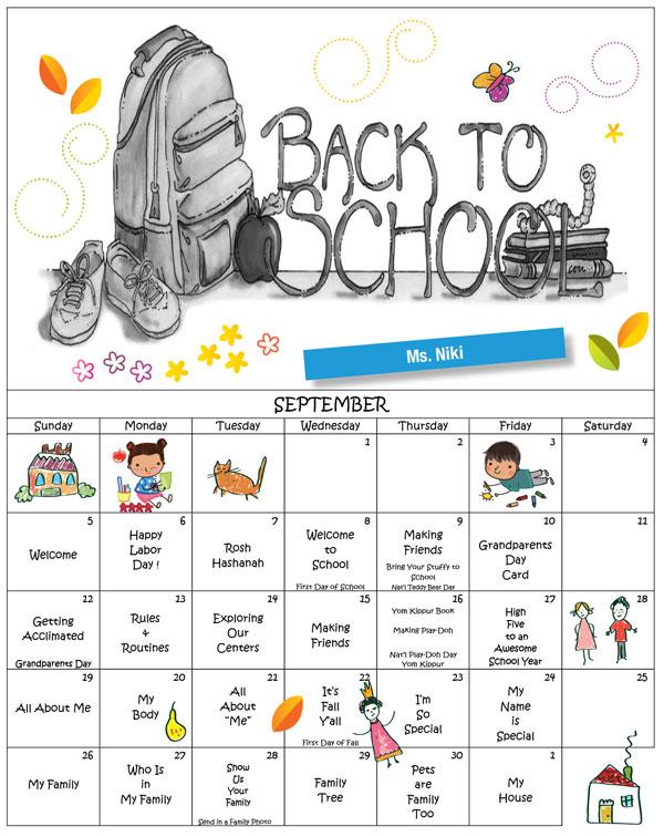 Discovering Me Nursery School Sept. 2021 Calender Ms. Niki