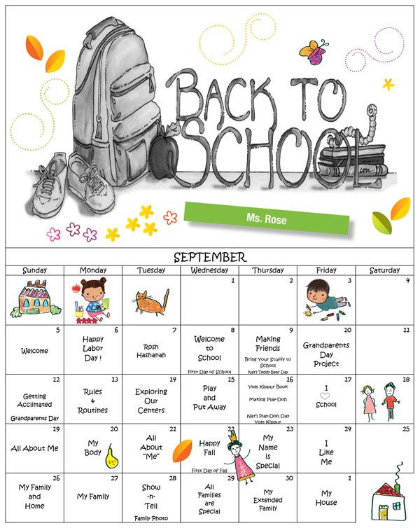 Discovering Me Nursery School Sept. 2021 Calender Ms. Rose