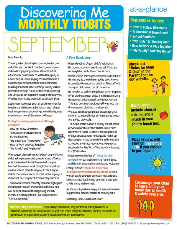 Discovering Me Nursery School Sept. 2021 Newsletter