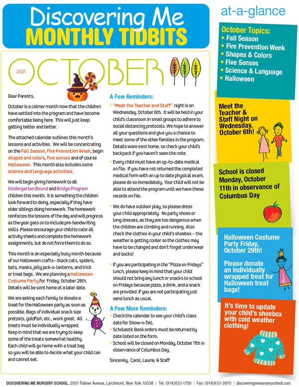 Discovering Me Nursery School October 2021 Newsletter