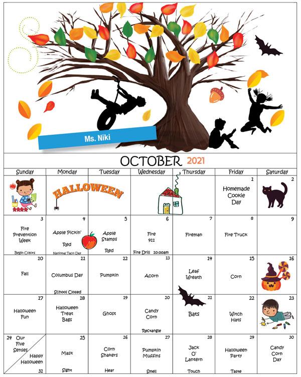 DMNS_2021-October-Newsletter,  Ms. Niki calendar